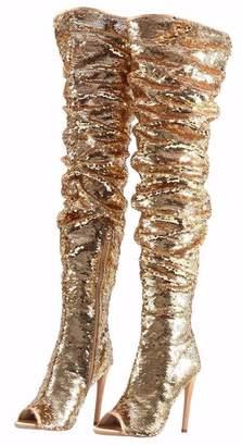 5472e665da608 CAMSSOO Women s Fashion Peep Toe Sparkle Sequins Thigh High Over Knee  Stiletto Heel Christmas Party Dance
