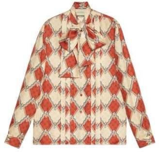 Gucci Silk shirt with snake rhombus print