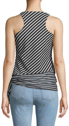 T Tahari Striped Knit Sleeveless Blouse with Tie Hem
