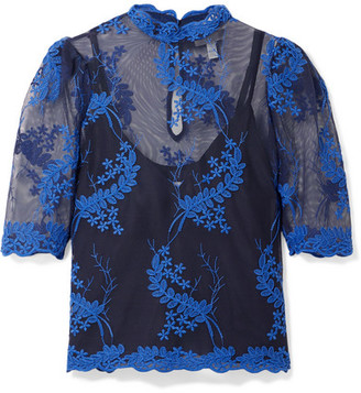 d382c8d9289 Alice McCall Honeymoon Embroidered Tulle Top - Blue