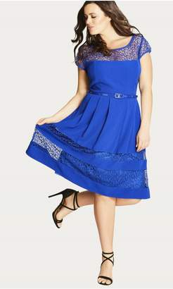 City Chic Delicate Lace Fit & Flare Dress