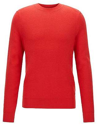HUGO BOSS Cotton-blend sweater in a hybrid structured knit
