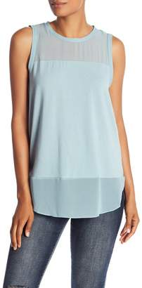 Vince Camuto Mixed Media Crew Neck Tank Top