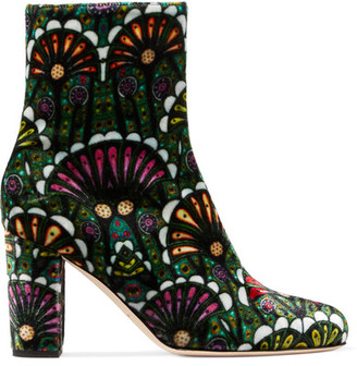 Brian Atwood - Talise Printed Velvet Ankle Boots - Emerald $750 thestylecure.com