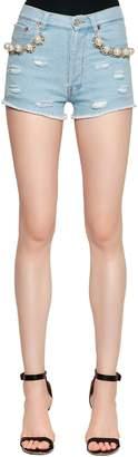 Couture Forte Dei Marmi Embellished Cotton Denim Shorts