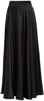 Olga WtR Black Satin High Waisted Maxi Skirt