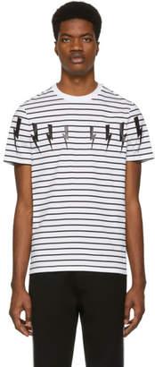 Neil Barrett White Striped Lightning Bolt T-Shirt