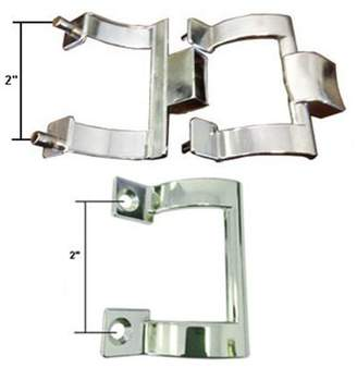 "Co Gordon Glass Chrome Shower Door Towel Bar Brackets and Inside Handle Pull Kit, 2"" Screw Holes"