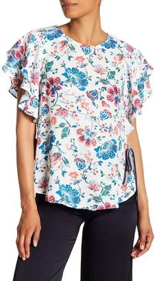 Laundry by Shelli Segal Ruffle Sleeve Floral Print Blouse