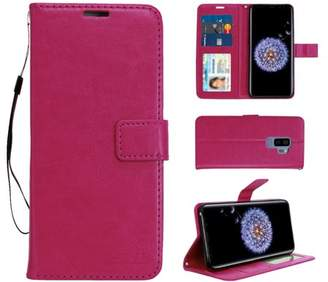 HLC S9 Plus Real Plain Leather Wallet Case -Hot Pink