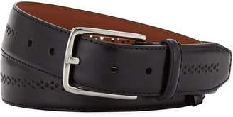 Neiman Marcus Men's Burnish Center-Brogue Leather Belt