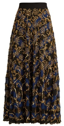 Altuzarra Villotta Sequin Embellished Silk Skirt - Womens - Navy Multi