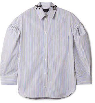 Simone Rocha Bow-embellished Striped Cotton-poplin Shirt - Sky blue