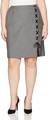 Nine West Women's Plus Size Melange Midi Skirt with Detailing