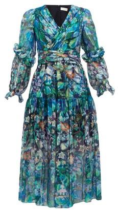 Peter Pilotto Floral Print Metallic Silk Georgette Midi Dress - Womens - Blue
