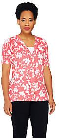 Denim & Co. Floral Print Short Sleeve ButtonFront Cardigan