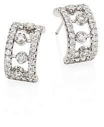 "De Beers Women's Dewdrop Diamond& 18K White Gold Hoop Earrings/0.4"""