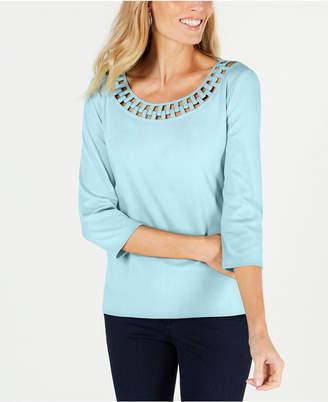 Karen Scott Cotton Link-Collar T-Shirt