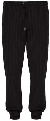 Saint Laurent Striped Wool Track Pants - Mens - Black