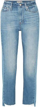 Madewell The Perfect Summer Frayed High-rise Straight-leg Jeans - Mid denim