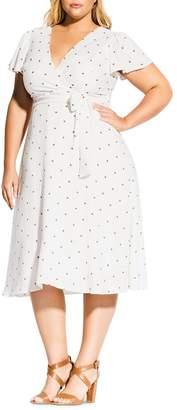 City Chic Plus Dot-Print Faux-Wrap Dress
