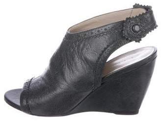 Balenciaga Leather Peep-Toe Booties