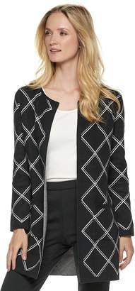 Elle Women's Print Open-Front Long Cardigan Jacket