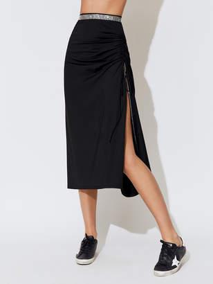 Adam Selman Ruched Slit Skirt