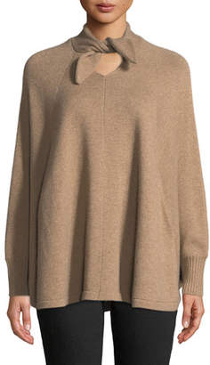 Co Tie-Neck Long-Sleeve Wool-Cashmere Poncho Sweater