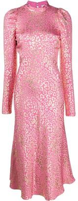 Temperley London Sunset leopard-jacquard midi dress