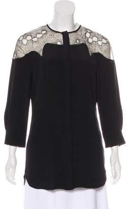 Lela Rose Lace-Accented Button-Up Top