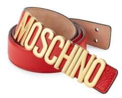 Moschino Men's Logo Leather Belt - Red - Size 52 (36)