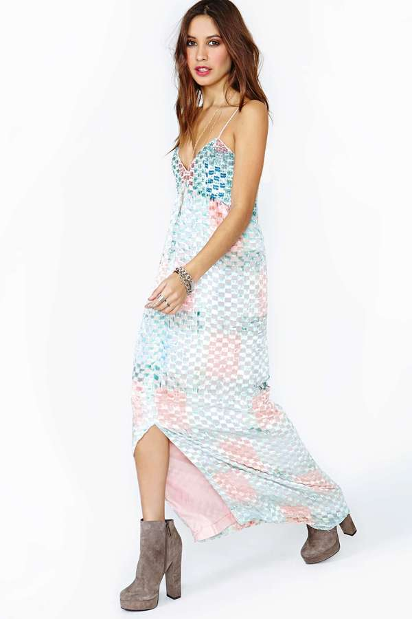 Nasty Gal Soft Geo Maxi Dress