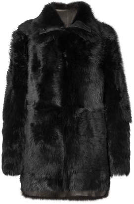 Yves Salomon Reversible Shearling Coat - Navy