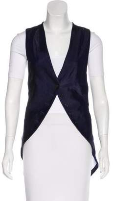 Ann Demeulemeester Velvet-Paneled Longline Vest