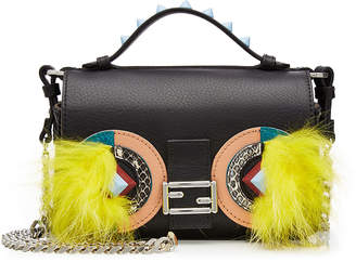 Fendi Embellished Leather Double Baguette Shoulder Bag