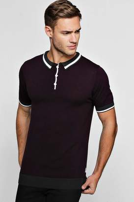 boohoo Short Sleeve Knitted Polo with Tipping