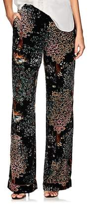 Alberta Ferretti Women's Garden-Print Velvet Straight Pants