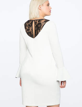 ELOQUII Flare Sleeve Dress with Lace Back Detail