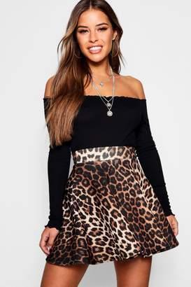 boohoo Petite Leopard Print Skater Skirt