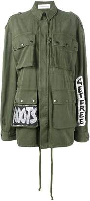 Faith Connexion hand-painted Crown Tag field jacket