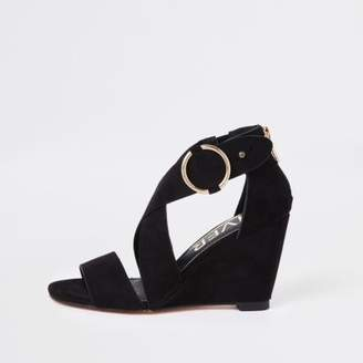 River Island Womens Black cross strap wedge sandals