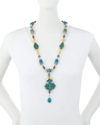 Jose & Maria Barrera Mixed Bead Pendant Necklace