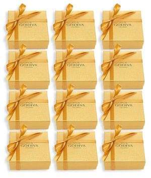 Godiva Chocolatier Set of 12 Assorted Chocolate Gold Favor, Gold Ribbon
