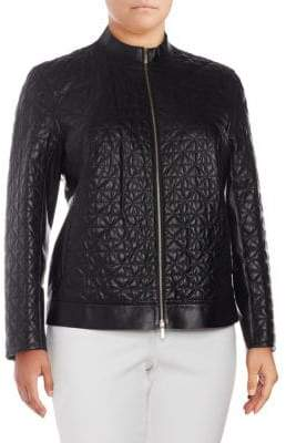 Lafayette 148 New York Plus Becks Quilted Leather Jacket