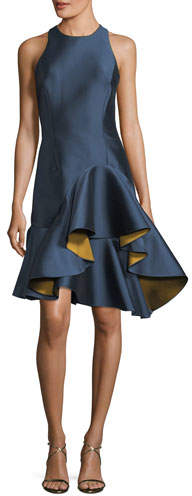 Sachin + Babi Nija Sleeveless Fitted Satin Cocktail Dress w/ Asymmetric Ruffled Skirt