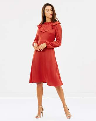 Dorothy Perkins Rust Ruffle Front Midi Skater Dress