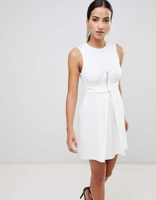 Asos DESIGN Mini Scuba Skater Dress With Zip Corset