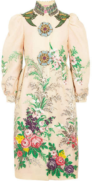 Gucci - Embellished Embroidered Cloqué Coat - Ivory