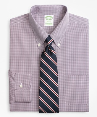 Brooks Brothers Stretch Milano Slim-Fit Dress Shirt, Non-Iron Micro-Check